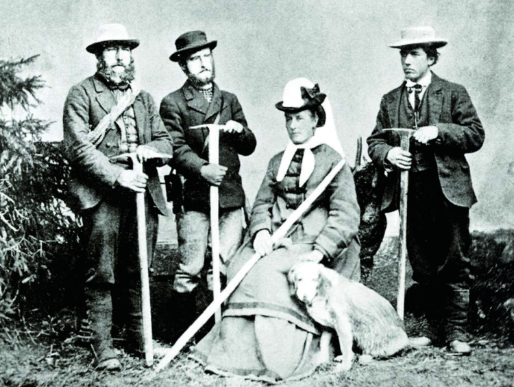 Christian Almer, W A B Coolidge, Miss Brevoort, Tschingel (the dog) and Ulrich Almer, c. 1874. Photo credit: Alpine Club